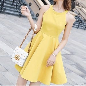 Fit and Flare Mini Yellow Dress